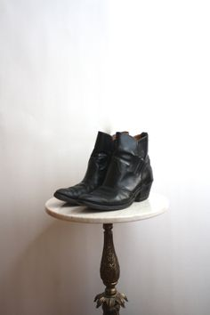 #Ankle Boots #Black Leather FRINGE Cowboy - #Men's 10.5 11 - #1970s VINTAGE fiiimac at Etsy.com