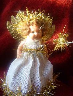 Vintage 50s Doll Christmas Tree Fairy Angel Decoration Auburn