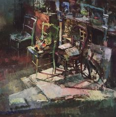 Fred Cuming, Studio Three Chairs    1990 oil