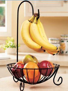 Banana Holder Tree Fruit Kitchen Rack Hook Stand Hanger Metal Basket Storage Bow