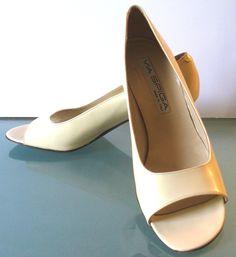 Via Spiga Made in Italy Bone Peep Toe Heels by EurotrashItaly on Etsy