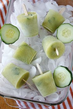 [ Recipe: Cucumber-Chili Mexican Paletas ] Spicy summer recipe with cucumbers, jalapeños, chili powder, sugar, and lemon/lime juice. ~ from taste-for-adventure.tablespoon.com