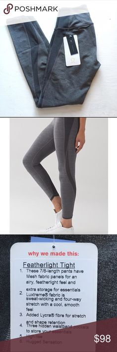 Lululemon Featherlight Tight 4 NWT New with tags, sold out online, 2016-17 season, fabric: luxtreme, retails for $118, sold out online, color: heathered black lululemon athletica Pants Leggings