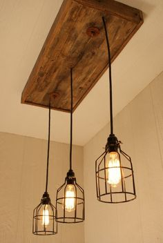 This unique cage light chandelier is meticulously handcrafted using reclaimed wood. We are woodworkers by trade and we take pride in our materials and craftsmanship. Each piece of wood is inspected an