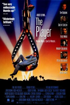The Player , starring Tim Robbins, Greta Scacchi, Fred Ward, Whoopi Goldberg. A studio executive is being blackmailed by a writer whose script he rejected but which one? Loaded with Hollywood insider jokes. #Comedy #Crime #Drama #Mystery #Romance #Thriller