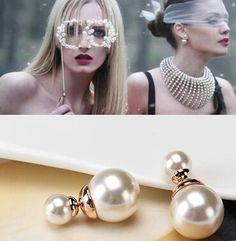 e0151 New Fashion Hot Selling Earrings 2016 Double Side Shining Pearl Stud Earrings Big Pearl Earrings For Women