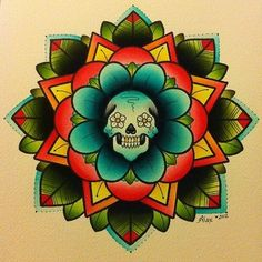 Flower & Skull tattoo painting by Alex Strangler