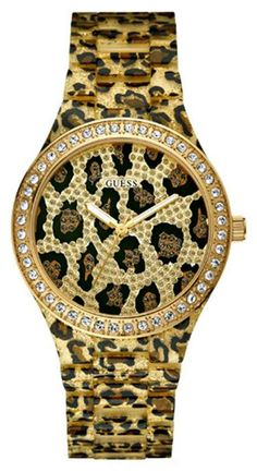Guess Ladies Leopard Print Bracelet Watch W0015L2