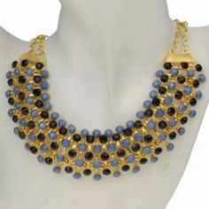 """⚡️SALE⚡️ Blue & Black Statement Necklace Beautiful necklace with blue & black acrylic beads resin. This is just slap your mamma gorgeous! Collar of beads is 1 1/2""""W. New! No Trades. ✨Note: All products are free from detectable defects by me unless otherwise stated in the description. All products are sold as is & without refunds or returns.✨ Boutique Jewelry Necklaces"""