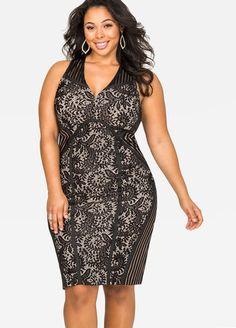 Shadow Stripe Lace Sheath Dress Shadow Stripe Lace Sheath Dress