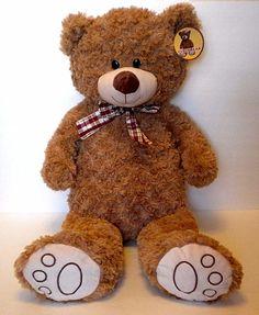 """Large Teddy Bear Hugfun Plush Stuffed Golden Brown Curly Chenille Velour 32"""" NWT #Hugfun"""