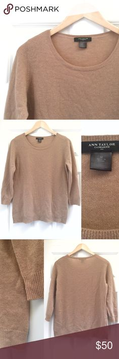 "Ann Taylor Cashmere Sweater Ann Taylor Cashmere Pullover Sweater * Slightly sheer * 3/4 sleeve * 100% Cashmere * Care: Dry clean only * Ribbed cuffs and hem * Excellent used condition * Made from soft refined cashmere, this crew neck is a truly classic covetable.  * Measurements taken while laid flat: 38.5"" bust, 25.5"" Ann Taylor Sweaters Crew & Scoop Necks"