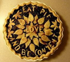 """""""Eat Pie, Love, And Be Content """" a blueberry/cherry pie. photographed by Pippi Konstanski. Ther is no recipe . just this beautiful way to enjoy a pie Just Desserts, Delicious Desserts, Yummy Food, Fun Food, Quiches, Fruit Recipes, Dessert Recipes, Pie Recipes, Beautiful Pie Crusts"""