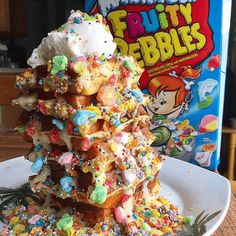 Marshmallow Fruity Pebbles Protein Waffle Tower is the perfect way to start off your Saturday or Sunday morning strong! Cereal Recipes, Waffle Recipes, Protein Waffles, Food Platters, Food Cravings, Healthy Desserts, Love Food, Sweet Recipes, Sweet Treats