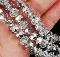 Silver/white 6x8 mm crystal bead (promo 138 pcs)