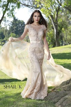 c0f35636f30ef Embellished Mermaid Style Prom Dress With Detachable Train 33924