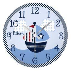 Personalized Sail Away/Nautical/Boats Baby Clock