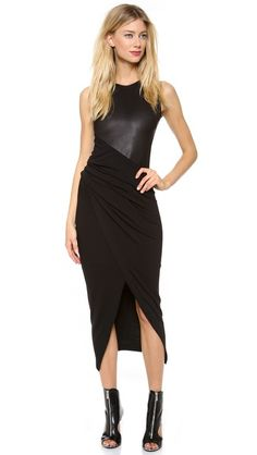 Donna Karan New York Jersey Dress with Leather Bodice. Might be the perfect black dress. Edgy but chic.