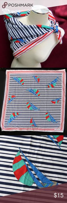 """1960s Leonardi Paris Scarf Sailboats Nautical Boat Flash back to the 1960s with this original, vintage nautical scarf by Leonardi Paris. It's about 30"""" by 30"""", with fab red, white and blue colors of stripes and sailboats. Totally retro, totally mod/go-go!  Has a few light spots, as well as one lighter-colored coffee stain near the logo. Please see all photos for reference.  From a smoke-free home. I love to work deals, so if you're interested in other items of mine, feel free to Bundle and…"""