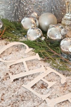 French+Country+Cottage+Christmas+Decor | few silvery trees from Christmas decor on the table