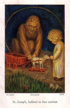 This is such an unusual and sweet depiction of St. Joseph giving the infant Jesus a toy.