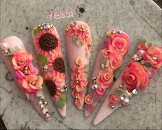 Awesome gel nail designs for fall detail is offered on our site. Dope Nails, Bling Nails, Swag Nails, Stiletto Nails, Gel Nails, 3d Acrylic Nails, 3d Nail Art, Gorgeous Nails, Pretty Nails