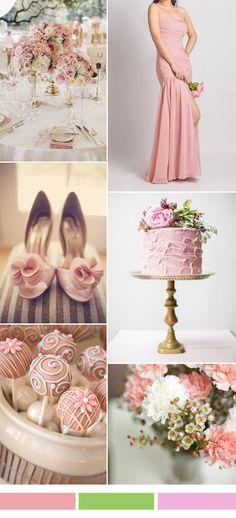 pink sorbet wedding color ideas and long chiffon bridesmaid dress 2017