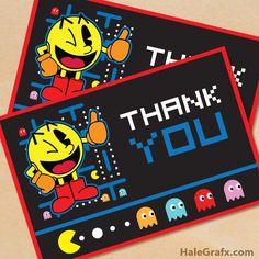 Free Printable Pac-man themed thank you card. Thank you card is designed to print on x 11 standard letter size paper. Manly Party Decorations, Birthday Table Decorations, Kids Party Themes, Party Ideas, 6th Birthday Parties, Man Birthday, Birthday Ideas, Fourth Birthday, Party Printables