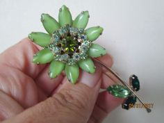 16924e26241 Vintage Green Large WEISS Signed FLOWER gold tone Pin Rhinestone Brooch AB  RARE #Weiss Vintage