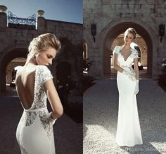 2014 Sexy V Neck Cap Sleeves Backless Lace Mermaid Wedding Dresses Bridal Gown20