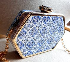 Portugal Antique Azulejo Tile Replica CLUTCH PURSE from Barcelos Gold Blue (see…