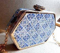 Portugal Antique Azulejo Tile Replica CLUTCH PURSE from by Atrio,