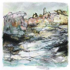 South African landscape art by Janet Botes Mixed Media Artwork, Mixed Media Painting, Strange Stories, Landscape Art, The Rock, West Coast, Original Artwork, Flow, Landscapes