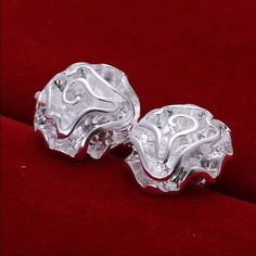 Silver rose earrings Gorgeous silver stamped 925 rose earrings new Jewelry Earrings