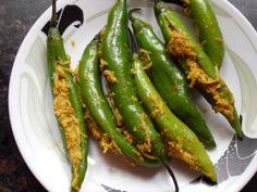 Chillies stuffed with mango filling Mango Recipes, Spicy Recipes, Vegetarian Recipes, Cooking Recipes, Healthy Recipes, Andhra Recipes, Indian Food Recipes, One Pot Dishes, Good Food
