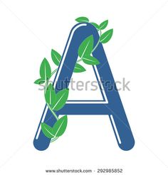 Letter A in eco style with a branch and leaves. Template element for logo design
