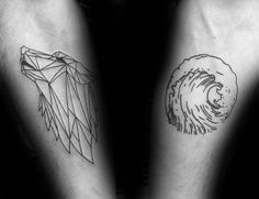 Ocean Wave With Outline Geometric Wolf Mens Inner Forearm Tattoos
