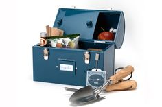 Tool & Tuck Box - Petrol Blue The perfect gift for all owners of a vegetable patch or allotment - Burgon & Ball