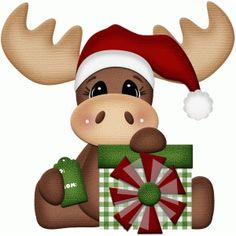 Silhouette Design Store: Christmas Moose With Present Print & Cut - Card ideas - crismas Christmas Moose, Christmas Animals, Christmas Bells, Christmas Pictures, Christmas Holidays, Christmas Decorations, Christmas Ornaments, Christmas Clipart, Christmas Printables