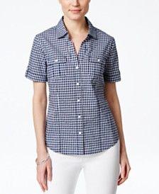 Karen Scott Gingham Short-Sleeve Shirt, Only at Macy's