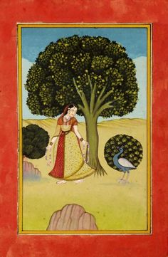 An Indian miniature painting of a woman with a peacock. Gouache,  late 19th/20th century, Kakubha Ragini ?