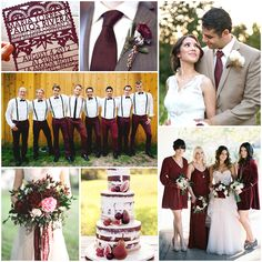 Marsala color scheme- laid back groomsmen/ pretty darker red tones