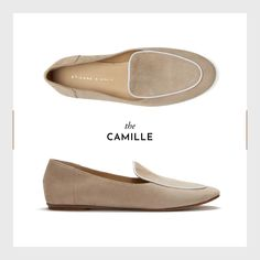The timeless Camille Loafer in sand is crafted from kid suede with white nappa leather trim and works with floaty dresses, tailored trousers and off-duty jeans #RediscoverAigner #EAspring