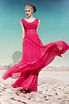 Magenta Cowl Neck Sequined Ruched Long Chiffon Prom Dress