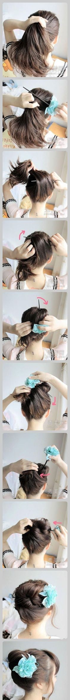 diy updo hair style, I always do this with a pencil...I just need to glue a flower to it lol!