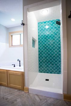 38 Beautiful Fish Scale Tile Bathroom Ideas www.futuristarchi… 38 Beautiful Fish Scale Tile Bathroom Ideas www. White Subway Tile Bathroom, Small Bathroom Tiles, Bathroom Tile Designs, Bathroom Ideas, Bathroom Wall, Tile Bathrooms, Remodel Bathroom, Moroccan Tile Bathroom, Indian Bathroom