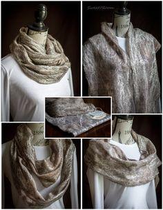 Nuno felted silk shawl Grey by Sweetjroom.