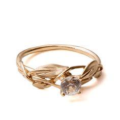 Leaves Engagement Ring - 18K Yellow Gold and Diamond engagement ring, engagement ring, leaf ring, filigree, antique, art nouveau, vintage