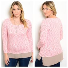"Pink top (XL 2x 3x) Pink top  Length- XL: 28"" • 2x/3x: 29""  Materials- 65% rayon/31% polyester/4% spandex. Semi thick top with taupe underlay. Extremely cozy! This top has great stretch to it. Slightly longer in the back. NWOT. Brand new without tags. Availability- XL•2x•3x • 2•1•2 PLEASE do not purchase this listing. Price is firm unless bundled. No tradesL30 Boutique Tops"