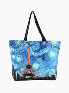 Tote Bag In Tower Painting Print - Fashion Clothing, Latest Street Fashion At Abaday.com